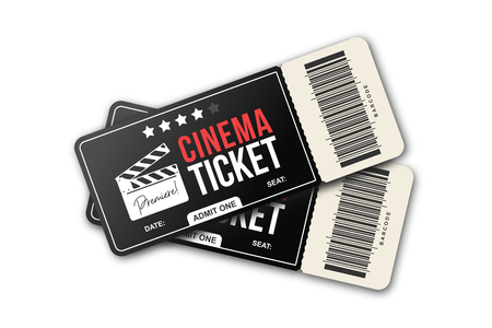 Two cinema tickets on white background. Movie tickets template in black and red colors
