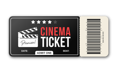 Cinema ticket on white background. Movie ticket template in black and red colors Foto de archivo - 124108320
