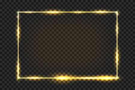 Golden frame with light effect. Golden vintage frame with glare and glitters isolated on dark transparent background