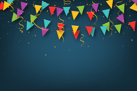 Carnival garland with pennants. Decorative colorful party flags with confetti for birthday celebration, festival and fair decoration. Festive background with hanging flags and pennants