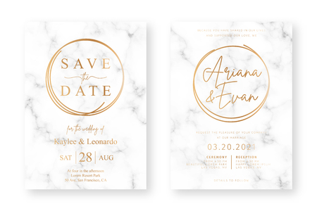 Wedding card design with golden frames and marble texture. Wedding announcement or invitation design template with geometric patterns and luxury background Foto de archivo - 124108329