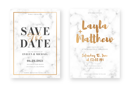 Wedding card design with golden frames and marble texture. Wedding announcement or invitation design template with geometric patterns and luxury background