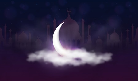 Ramadan Kareem background. Muslim feast of the holy month. Beautiful crescent and mosque silhouette in clouds with stars and sunlight. Greeting card template for Ramadan and Muslim Holidays. Vector