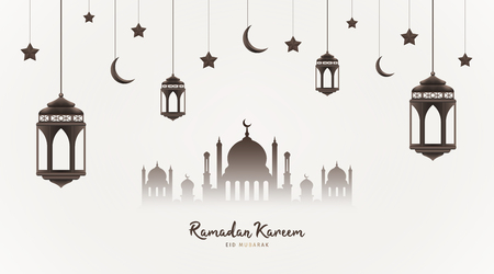 Ramadan Kareem background. Mosque silhouette with hanging lanterns, crescents and stars. Muslim feast of the holy month. Eid Mubarak greeting card template for Ramadan and Muslim Holidays