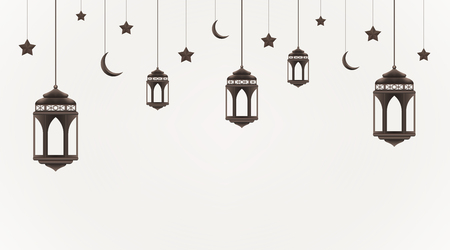 Ramadan Kareem background. Hanging lanterns, crescents and stars. Muslim feast of the holy month. Eid Mubarak greeting card template for Ramadan and Muslim Holidays. Vector  イラスト・ベクター素材