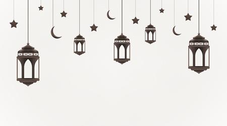 Ramadan Kareem background. Hanging lanterns, crescents and stars. Muslim feast of the holy month. Eid Mubarak greeting card template for Ramadan and Muslim Holidays. Vector Illustration