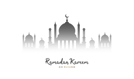 Ramadan Kareem background. Mosque silhouette on white background. Muslim feast of the holy month. Eid Mubarak greeting card template for Ramadan and Muslim Holidays. Vector Illustration