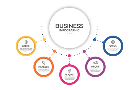 Business infographic template. Timeline concept for presentation, report, infographic and business data visualization. Round design elements with space for text. Vector Ilustração