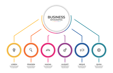 Business infographic template. Timeline concept for presentation, report, infographic and business data visualization. Round design elements with space for text. Vector Illustration
