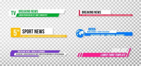 Untere dritte Schablone. Set von TV-Bannern und -Leisten für Nachrichten- und Sportkanäle, Streaming und Ausstrahlung. Sammlung des unteren Drittels für die Videobearbeitung auf transparentem Hintergrund. Vektor