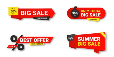 Set of sale tags. Sale, discount and special offer, colorful banners. Collection of discount label, offer tag and sale sticker design for advertising and promotion. Vector