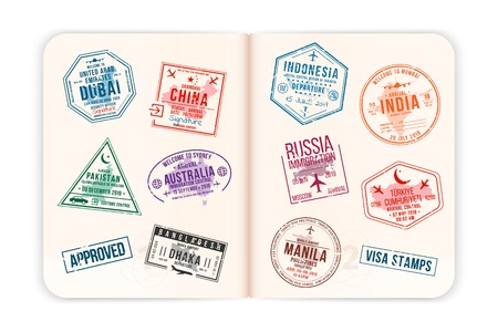 Realistic passport pages with visa stamps. Opened foreign passport with custom visa stamps. Travel concept to Asian and Australian countries. Vector Ilustração