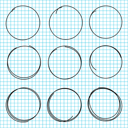 Hand drawn circle lines. Set of black scribble circles isolated on school notebook background. Vector