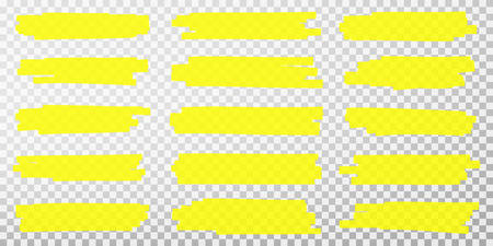 Highlighter lines. Hand drawn yellow highlighter marker strokes. Set of transparent fluorescent highlighter markers for underlines. Vector Illustration
