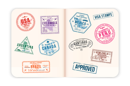Realistic passport pages with visa stamps. Opened foreign passport with custom visa stamps. Travel concept to American countries. Vector