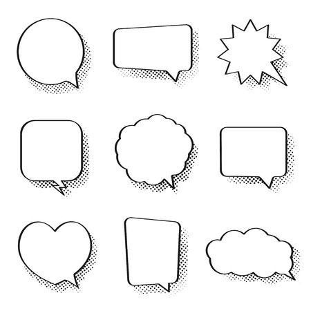 Set of comic speech bubbles. Vintage empty comic bubbles with halftone effect in pop art style. Dialog and discussion, thinking and talking clouds. Vector Ilustração