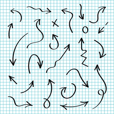 Vector hand drawn arrows set. Black sketch arrows in doodle style. Lines and pointers, circles, check and marks
