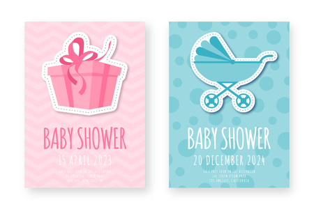 Baby shower greeting card template. Set of cute posters for birthday party, baby shower event. Pink and blue birthday cards for girls and boys with gift and baby carriage. Vector