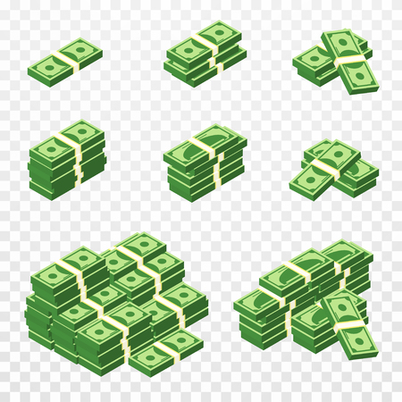 Bunches of money in cartoon 3d style. Set of different packs of dollar bills. Isometric green dollars, profit, investment and savings concept. Vector