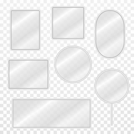 Set of vintage mirrors with blurry reflection. Realistic mirror frames with steel borders and transparent surface. Vector