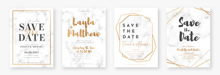Wedding card design with golden frames and marble texture. Set of wedding announcement or invitation design template with geometric patterns and luxury background. Vector