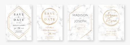 Wedding card design with golden frames and marble texture. Set of wedding announcement or invitation design template with geometric patterns and luxury background. Vector Foto de archivo - 124108372