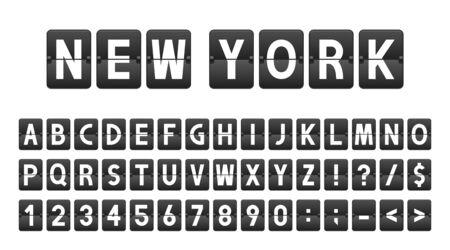 Kreatywna czcionka w stylu deski lotniska, tablica czasu linii lotniczych. Litery i cyfry w stylu vintage, alfabet klapki. Tablica wyników lotniska, panel informacyjny, harmonogram.