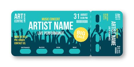 Concert ticket template. Concert, party, disco or festival ticket design template with people crowd on background. Entrance to the event. Illustration