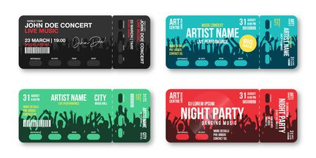 Set of concert tickets template. Concert, party, disco or festival ticket design template with people crowd on background. Entrance to the event.