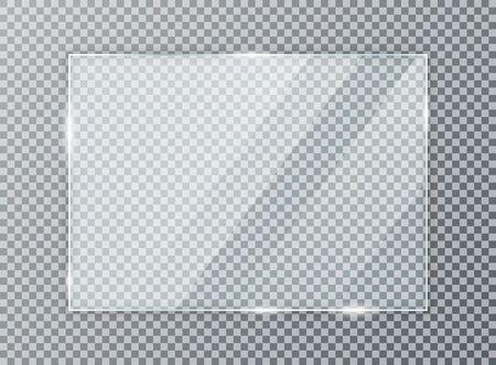 Glasplatte auf transparentem Hintergrund. Acryl- und Glasstruktur mit Blendung und Licht. Realistisches transparentes Glasfenster im rechteckigen Rahmen. Vektorgrafik