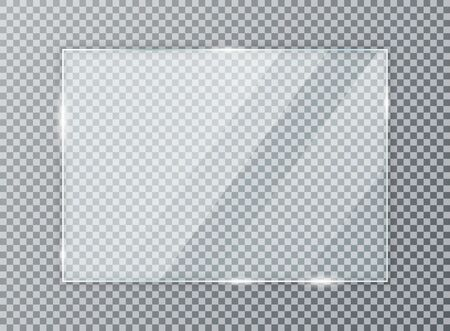 Placa de vidrio sobre fondo transparente. Textura de acrílico y vidrio con reflejos y luz. Ventana de vidrio transparente realista en marco rectangular. Ilustración de vector