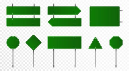 Set of green road signs. Blank traffic signs, highway boards, signpost and signboard. Realistic traffic signs isolated on transparent background.