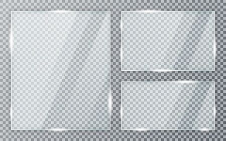 Glass plates set on transparent background. Acrylic and glass texture with glares and light. Realistic transparent glass window in rectangle frame.
