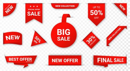 Set of new stickers, sale tags and labels. Shopping stickers and badges for merchandise and promotion, special offer, new collection, discount etc. Imagens - 128327678