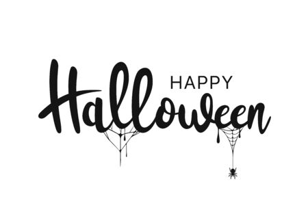 Happy Halloween lettering. Handwritten calligraphy with spider web for greeting cards, posters, banners, flyers and invitations. Happy Halloween text, holiday background. Vector Illusztráció