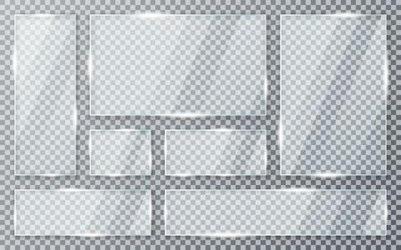 Glass plates set on transparent background. Acrylic and glass texture with glares and light. Realistic transparent glass window in rectangle frame. Vector Stock Illustratie
