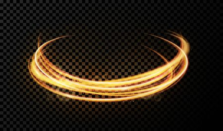 Vector light effect on transparent background. Golden transparent light with dynamic swirl. Glowing light ring or motion swirl with flying sparkling flash and particles