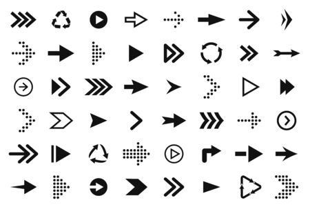 Set of black arrows, forward and back, up and down. Arrow icons, pointers and direction signs. Straight and curved arrows for web design. Vector Stock Illustratie