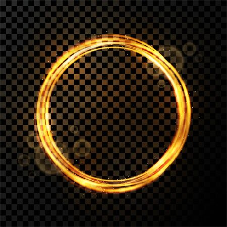 Vector light effect on transparent background. Golden transparent light with dynamic swirl in round shape. Glowing light ring or motion swirl with flying sparkling flash and particles Illusztráció