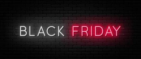 Black Friday sale. Black Friday neon sign on brick wall background. Glowing white and red neon text for advertising and promotion. Banner and background, brochure and flyer design concept. Vector