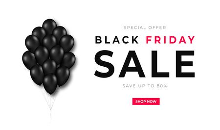 Black Friday sale. Bunch of black balloons with text on white background. Black Friday promotion and advertising. Banner and background, brochure and flyer design concept. Vector Illusztráció
