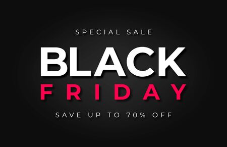 Black Friday sale. Red and white text on dark luxury background. Black Friday promotion and advertising, special offer and sale. Banner and background, brochure and flyer design concept. Vector