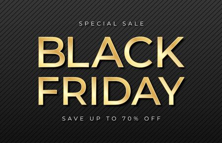 Black Friday sale banner. Shiny golden text on dark and luxury background. Black Friday promotion and advertising, special offer and sale. Banner and poster, brochure and flyer design concept. Vector Illusztráció