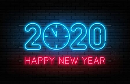 Happy New Year 2020. Neon sign, glowing text 2020 with clock inside. New Year and Christmas decoration. Neon light effect for background, banner, poster and greeting card. Vector Stock Illustratie