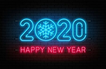 Happy New Year 2020. Neon sign, glowing text 2020 with snowflake inside. New Year and Christmas decoration. Neon light effect for background, banner, poster and greeting card. Vector