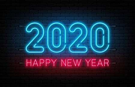 Happy New Year 2020. Neon sign, glowing text for New Year and Christmas decoration. Neon light effect for background, banner, poster and greeting card. Vector Foto de archivo - 131757305
