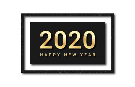 Happy New Year 2020. Golden text with glitters and shadows in black frame. Luxury background for New Year decoration, for banner, poster and greeting card. Vector