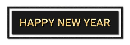 Happy New Year 2020. Golden text with glitters and shadows in black frame. Luxury horizontal background for New Year decoration, for banner, poster and greeting card. Vector