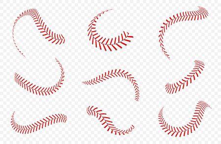 Baseball-Ball-Schnürsenkel oder Nähte. Baseballstiche mit roten Fäden. Vektor