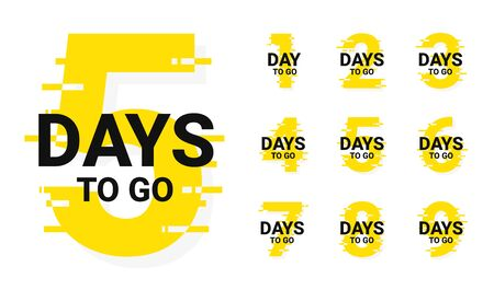 Countdown badges. Number of days left to go, from 1 to 9. Countdown left days, stylized counter in yellow and black colors. Vector Ilustración de vector